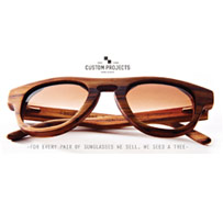 Custom designed wooden sunglasses
